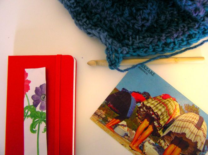 moleskine and postcard